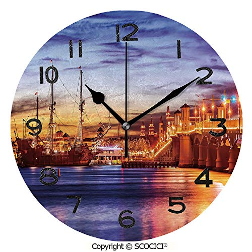 - SCOCICI 10 inch Round Clock St. Augustine Florida Famous Bridge of Lions Dreamy Sunset Majestic Decorative Unique Wall Clock-for Living Room, Bedroom or Kitchen Use