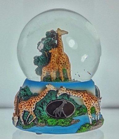 "UPC 602040360818, Giraffe Family Snow Globe - Sculptured Resin Water Ball Music Box 5 3/4"" High"