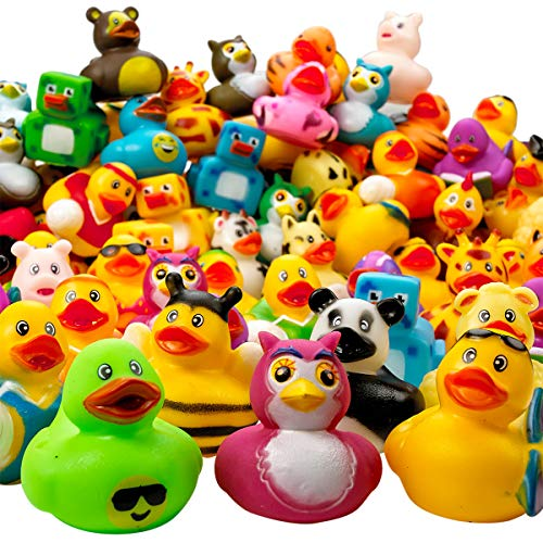Kicko Assorted Rubber Duckies - 100 PC Bath Floater - Baby Showers Accessories - Bulk Ducks for Kids - Easter Party, Halloween Party Favors, Rubber Ducks Supplies and Favors ()