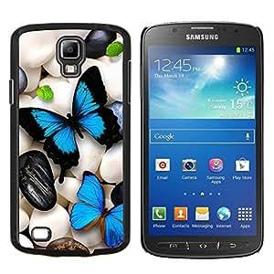 YiPhone /// Prima de resorte delgada de la cubierta del caso de Shell Armor - Mariposa de neón iridiscente Pebble Art Blue - Samsung Galaxy S4 Active i9295