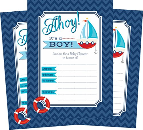 Nautical Ahoy It's a Boy Themed Baby Shower Invitations - 24 Invites and Envelopes