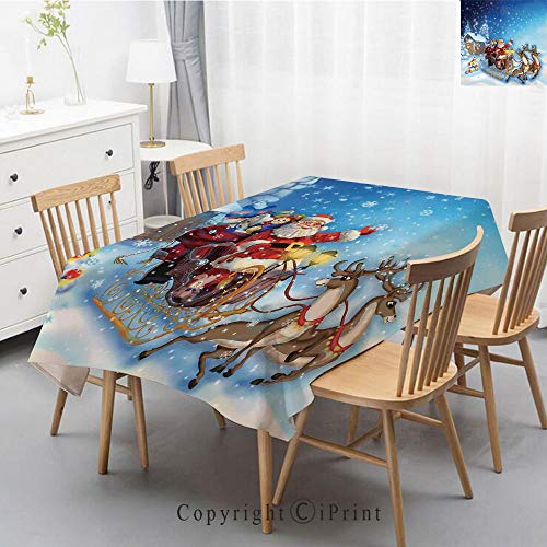 Wedding Party,Allover Print Christmas Fabric Tablecloth,Holly Berry Xmas Print Cloth Tablecloth,40x60 Inch,Christmas Decorations,Santa in Sleigh with Reindeer and Toys in Snowy North Pole Tale Image,N