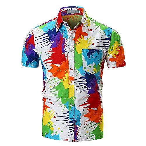 Realdo Mens Casual Short Sleeve Multicolored Print Button Down Shirts (Crazy Hawaiian Shirts)