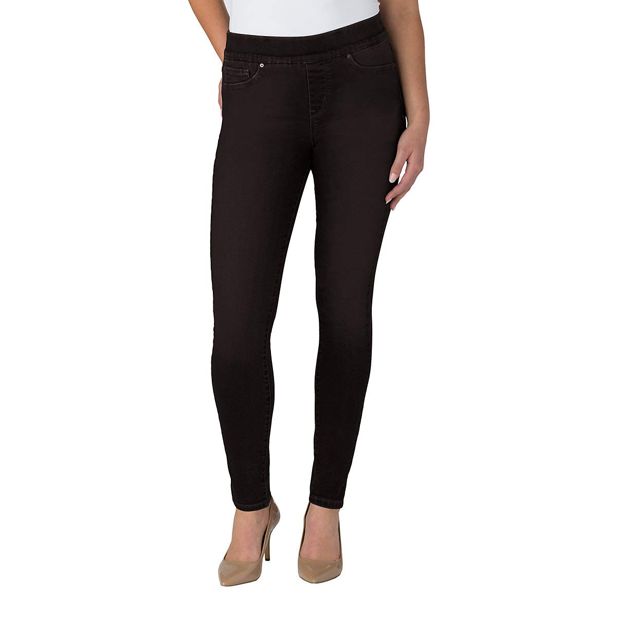 Signature by Levi Strauss & Co. Gold Label Women's Totally Shaping Pull-On Skinny Jeans, Noir, 10 Medium