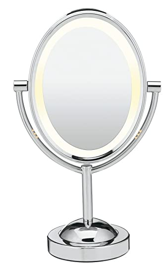 Amazon Com Conair Reflections Double Sided Lighted Vanity Makeup Mirror 1x 7x Magnification Polished Chrome Personal Makeup Mirrors Beauty