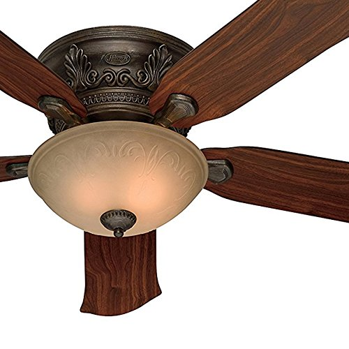 - Hunter Fan 52-Inch Low Profile Roman Bronze Finish Ceiling Fan with Tea Stain Glass Light Kit (Certified Refurbished)