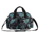 incarpo Baby Nappy Bags Diaper Bag Mother Waterproof Shoulder Bag Maternity Mummy Handbag Baby Stroller Bag Flower,Black