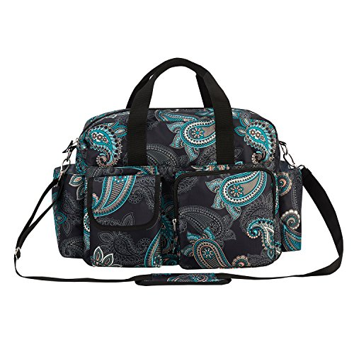 incarpo Baby Nappy Bags Diaper Bag Mother Waterproof Shoulder Bag Maternity Mummy Handbag Baby Stroller Bag Flower,Black by incarpo