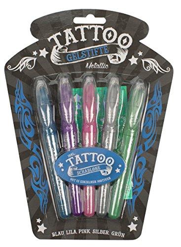 Trendhaus 920928 - Tattoo Gelstifte Metallic, Filzstift