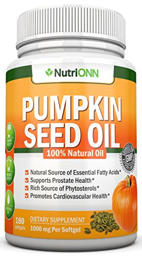 PUMPKIN SEED OIL - 1000MG - 180 Softgels - Cold-Pressed Natural Pumpkin Seed Oil - Natural Source Of Essential Fatty Acids - Great for Hair Growth, Prostate Health, Joint Inflammation and GI Tract -