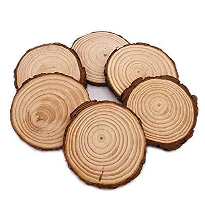 Unfinished Natural Wood Slices 6Pcs 4.7-5.5 Inch With Bark For Crafts Centerpieces Coasters Rustic Wedding Ornaments