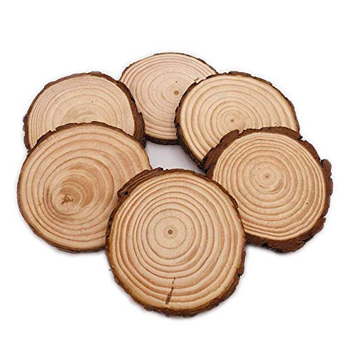 Unfinished Natural Wood Slices 6Pcs 4.7-5.5 Inch With Bark For Crafts Centerpieces Coasters Rustic Wedding Ornaments -