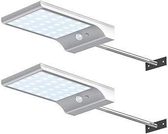 JUNSHUO Lámparas Solares(2 pack),Con mando a distancia 48 LED ...