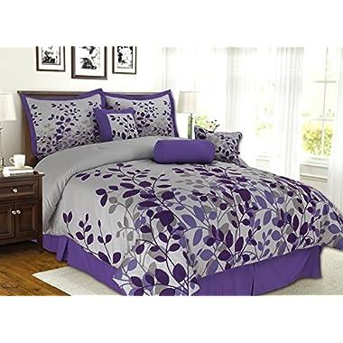 7 Piece Purple, Lavender, Grey Flocking Comforter Set Vine Bed In A Bag King Size Bedding