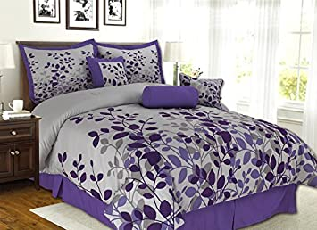 7 piece purple lavender grey flocking comforter set vine bed in a bag king - King Size Bed Sheets
