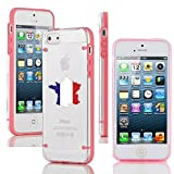 Apple iPhone 6 6s Thin Hybrid Transparent Clear Hard TPU Bumper Case Cover France French Flag (Light Pink)
