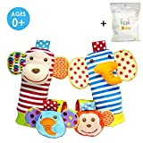 4 x Baby Infant Soft Toy Animal Wrist Rattles Hands Foots Finders Developmental Toys (Monkey and Elephant)