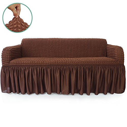 STARS 1-Piece Stretchable Easy Fit Sofa Cover Durable Furniture Slipcover in Country Style Made of Machine Washable and Quick-Drying Fabric for 3-seat sofa and couch(Sofa,Chocolate Brown)