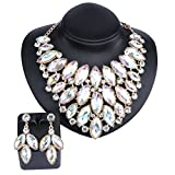 Fashion Choker Bib Necklace Crystal Femme Brand Women Jewelry Statement Necklaces Earring Jewelry Set (AB)