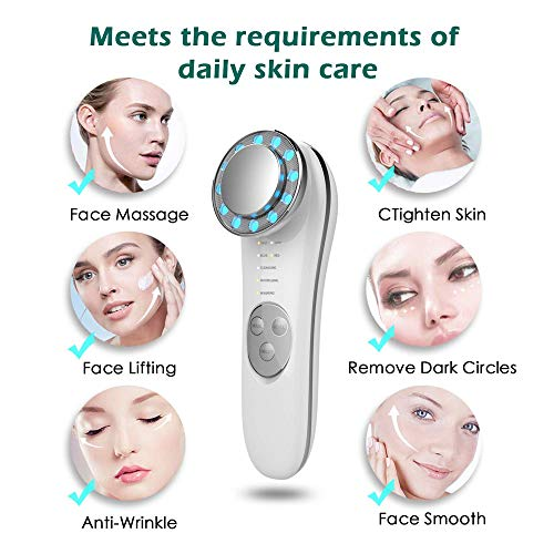 Facial Massager - 7 in 1 Face Cleaner Lifting Machine - High Frequency Machine - Promote Face Cream Absorption - LED Blue & Red Light Wave - Lift & Firm Tighten Skin Wrinkles - Skin Care Tools 5
