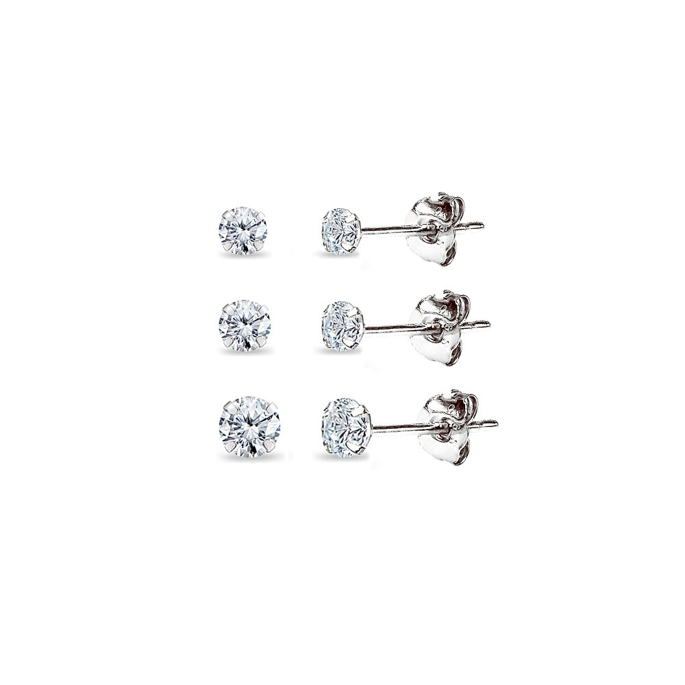 3 Pair Set 14K White Gold Cubic Zirconia Round Stud Earrings, 2mm 3mm 4mm