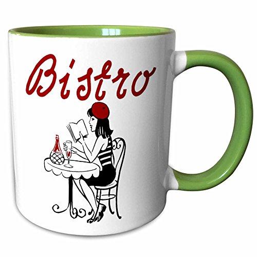 Mug Two Bistro Tone (3dRose TNMGraphics Food and Drink - Bistro - 15oz Two-Tone Green Mug (mug_124202_12))