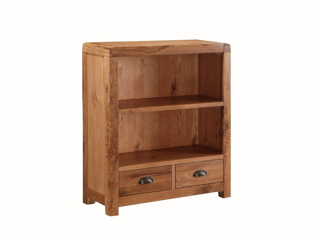 Oakville (Eiche massiv Bücherregal–Eiche massiv Kleines Bücherregal mit 2Schubladen–Finish: Eiche rustikal–Home Office–Esszimmer–Wohnzimmer Möbel