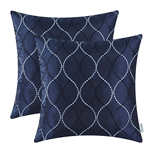 Pack of 2 CaliTime Cushion Covers Throw Pillow Cases Shells for Home Sofa Couch, Modern Waves Lines Embroidered 18 X 18 Inches Navy (Navy Sofa For Throws)