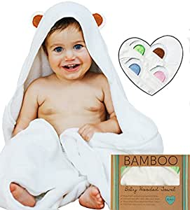 Ayayu Luxury Hooded Baby Towel and Washcloth Set | Extra Soft Organic Bamboo for Infant, Toddler, Newborn and Kids | Great for Boys and Girls at Bath, Pool and Beach | White, Brown Bear Ears