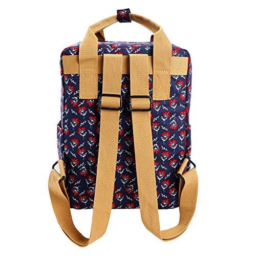 eb3a70c0de Micoop Waterproof Floral Backpack Handbag Travel School Bag for Girls and  Women (Dark Blue