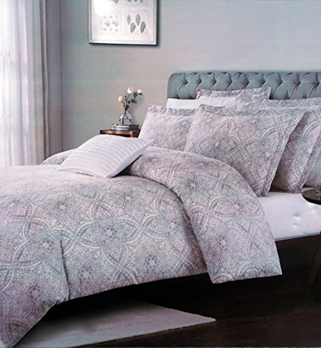 Royal Heritage Home Bedding 3 Piece Full / Queen Duvet Cover Set Intricate Classical Medallion Pattern in Shades of Gray Pink Brown Tan -- ()