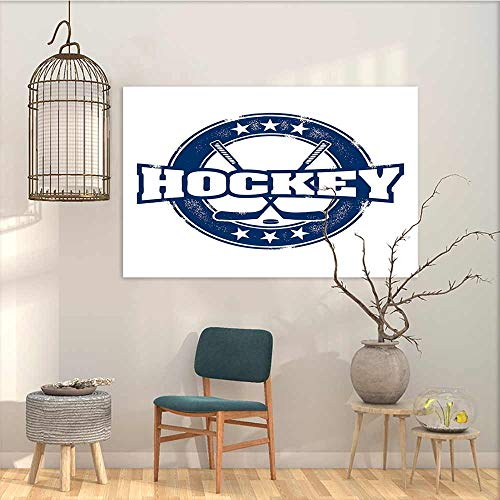 (Oncegod Art Original Oil Painting Sticker Hockey Weathered Looking Vintage Stamp Composition Text Sticks and Stars in Circle for Living Room,Dinning Room, Bedroom Navy Blue White W47 xL31)