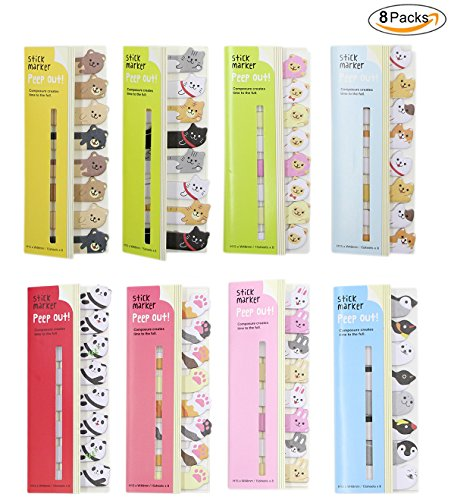 BabyPrice Send one (8 Packs) Cute Animals Sticker Bookmarks Memo Pad Sticky Notepaper Sticky Notes Page Flags Self-stick Tab Bookmark Marker Pad Cartoon Office School (1 Sticky Flag)