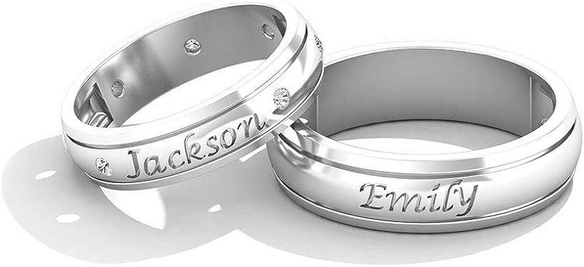 Alianzas de boda de oro blanco con inscripción