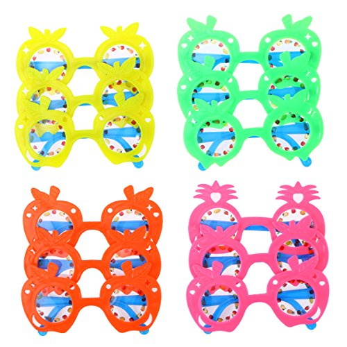 LUOEM Kids Pineapple Eyeglasses Party Sunglasses Favors Hawaii Fruit Eye Glasses for Hawaii Beach Luau Party Decoration ,Pack of 12 (Random -