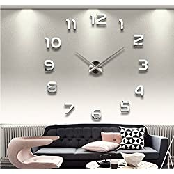 Alrens(TM)Arabic Numbers 3D Acrylic Frameless Non-ticking Quartz Mirror Wall Clock DIY Large Stylish and Elegant Clock Décor Art Living Room Coffee House Decorative Decal Removable Wall Sticker Decor