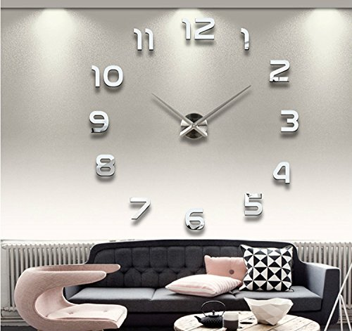 Alrens(TM)Arabic Numbers 3D Acrylic Frameless Non-ticking Quartz Mirror Wall Clock DIY Large Stylish and Elegant Clock Décor Art Living Room Coffee House Decorative Decal Removable Wall Sticker Decor (Wall Elegant Mirror)