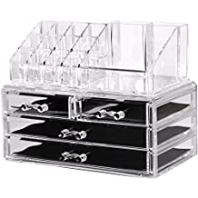 Acrylic Jewelry & Cosmetic Organizer / Storage Display Boxes - Two Piece Set - Removable Smooth Sliding & Non-Slip Rubber - By Utopia Home