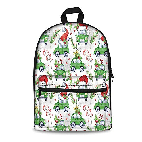 Cars Stylish Canvas School Bag,Noel New Year Celebrations Christmas Composition with Green Cars Santa Hats Decorative for School Travel,11.4
