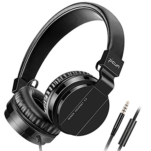 Picun Wired Headphones with Microphones for Computer Smartphones Tablet Laptop MP3/4,Earphones Over Ear Stereo Headsets with Deep Bass for Kids Teens Adults Black