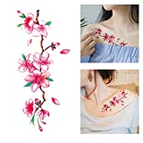 Temporary Tattoo Stickers Lotus Cherry Blossoms Flash Tattoo Sticker Body Art Makeup Waterproof Stickers Arm Shoulders Waist Chest Back Tattoo Stickers for Women Teens Girls Kids (Multicolor)