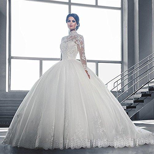 Chupeng Palla Bianco Lunga Abito 2017 Più Sposa Lungo Donne Formato Maniche In Sposa Pizzo Delle Per La Abito Alto Collo Da rxwqfgrA