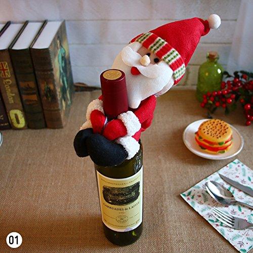 Eachbid Christmas Santa Snowman Elf Wine Bottle Cover Party Xmas Ornaments Decor Santa Claus - Santa Bottle