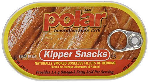 Herring Smoked Fillets - Polar Kipper Snacks - Smoked & Boneless Herring Fillets, 3.53 oz can (Pack of 3)