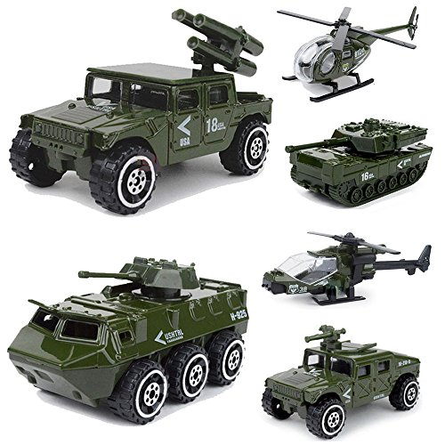 (Diecast Army Vehicle Playset Kids Model Car Military Toys Helicopter Tank Jeep Truck Armored Car Gift for Boys Toddlers)