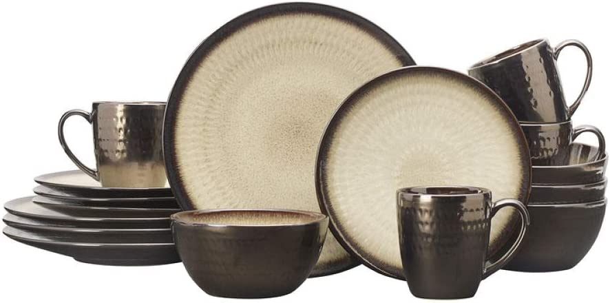 Gourmet Basics by Mikasa Anastasia Cream 16-Piece Dinnerware Set, Assorted
