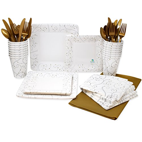Pans Pro Tableware 24 Serving Party Set, Forks, Spoons, Knives, Paper Plates, Cups, Napkins, Tablecovers (Swirls & (Pearl Serving Fork)