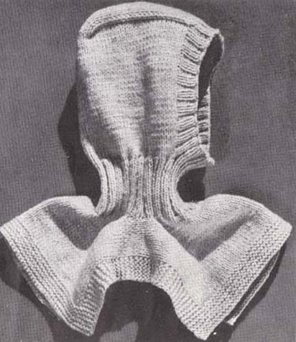 Knit Ski Helmet Hood Pattern #B-244 Vintage Knitting Pattern