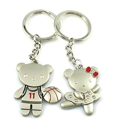 (4EVER Romantic Stainless Alloy Metal Silver Animal Pet Playing Basketball Bear & Dancing Bear Panda Couple Keychain with Gift Box Sweetheart Pendant Lovers Key Ring Key Chain Best for Valentine's)