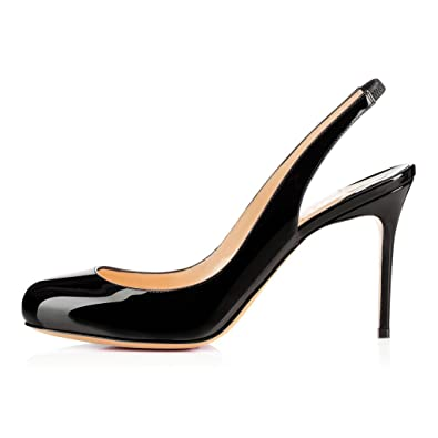 504c7cd4ae2 Sammitop Women s Round Toe 80mm High Heel Pumps Ladies Mid-Heel Slingback  Evening Shoes Black